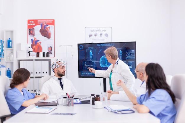 Gehirnwellen-elektroenzephalogramm-untersuchung im krankenhaus durch einen arzt. der monitor zeigt eine moderne gehirnstudie, während das wissenschaftlerteam das gerät anpasst.