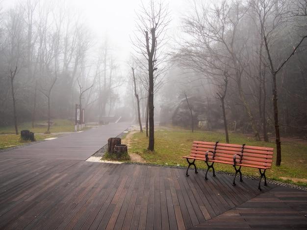 Gehweg im dichten nebel und bei schlechten lichtverhältnissen