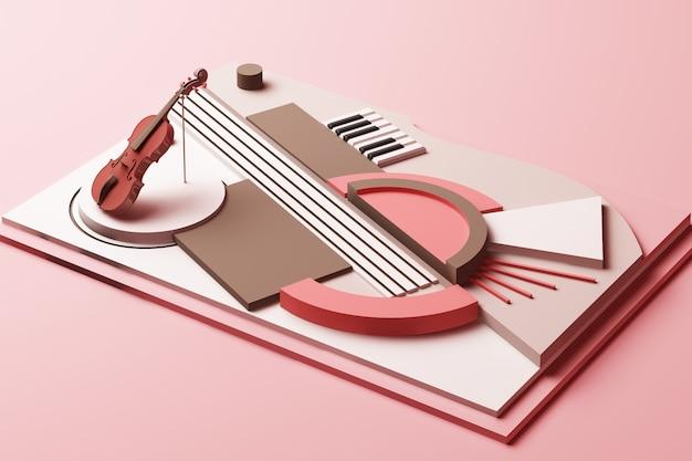 Geigen- und musikinstrumentenkonzept abstrakte zusammensetzung von plattformen mit geometrischen formen in pastellrosa-ton-3d-darstellung