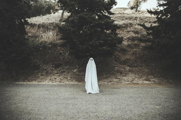 Geist, der auf dunkler landschaftsstraße steht