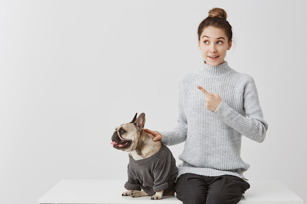 Gekleidete französische bulldogge mit freudiger besitzerin. frau im grauen pullover sitzt auf dem schreibtisch und zeigt mit dem zeigefinger auf etwas neugieriges. positive menschliche gefühle, gesichtsausdruck
