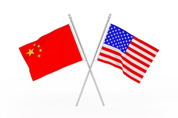 Gekreuzte usa- und china-flaggen auf weißem hintergrund. 3d-rendering