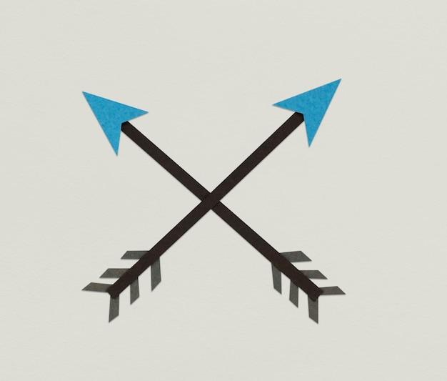 Gekreuztes pfeil-bogenschießen-richtungs-symbol-symbol