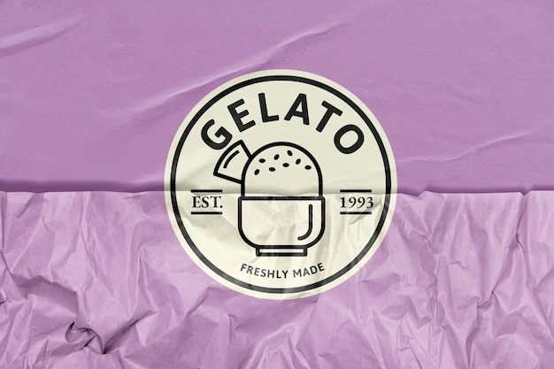 Gelato-eisdielen-logo mit zerknitterten papierstruktur-remixed-medien