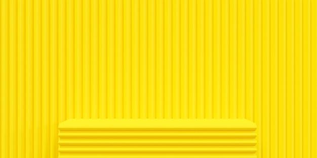 Gelbe 3d-darstellung des hintergrunds mit podiumsbühne im studioraum.