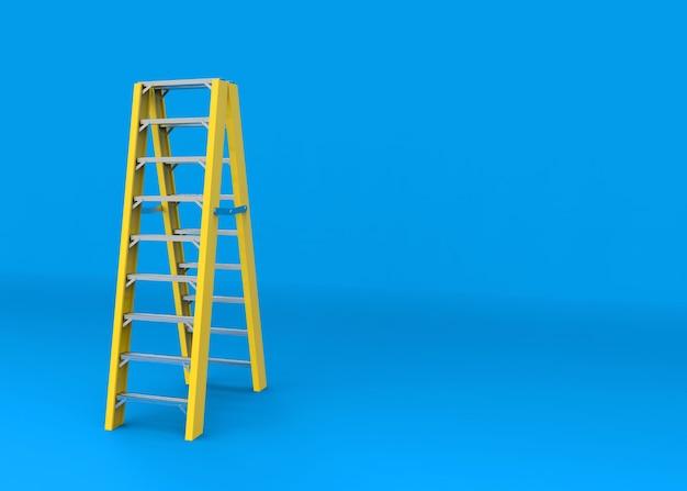 Gelbe aluminiumleitertreppe auf blauem kopienraumhintergrund