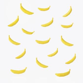 Gelbe bananenfrüchte 3d musterillustration rendern mit isolat auf weißem hintergrund.