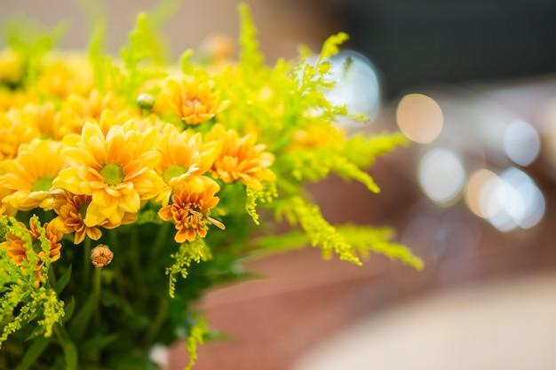 Gelbe blüten mit verschwommenen hintergrund