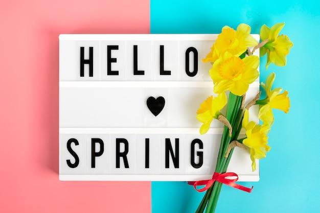 Gelbe blüten von narzissen, leuchtkasten mit zitat hallo frühling auf blauem, rosa hintergrund