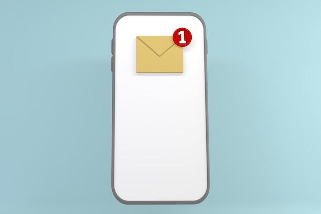 Gelbe buchstaben auf dem telefonbildschirm auf mintfarbenem hintergrund. 3d-rendering