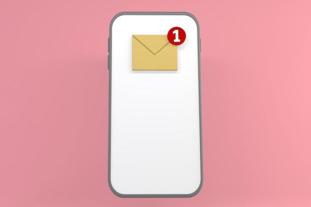 Gelbe buchstaben auf dem telefonbildschirm auf rosafarbenem hintergrund. 3d-rendering