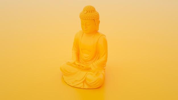 Gelbe buddha-statue. minimales ideenkonzept. 3d-illustration.