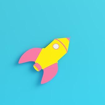 Gelbe cartoon-rakete auf hellblauem hintergrund in pastellfarben. minimalismus-konzept. 3d-rendering