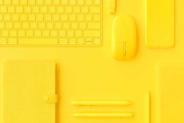 Gelbe computerausrüstung am schreibtisch.