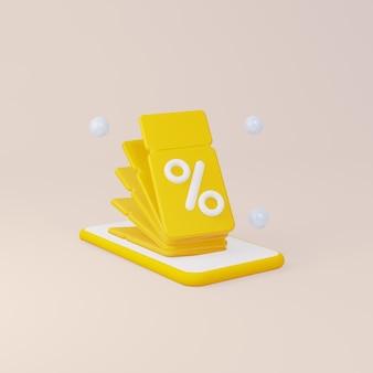 Gelbe coupons auf einem handy 3d-rendering
