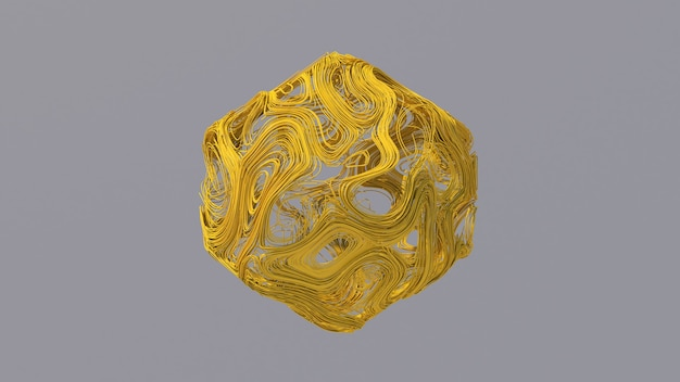 Gelbe drahtform. abstrakte illustration, 3d rendern.