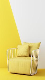 Gelbe farbstühle, sofa, sessel im leeren hintergrund. umgeben von geometrischer form konzept des minimalismus installationskunst. 3d-rendering mock-up vertikalen rahmen