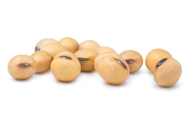 Gelbe frische sojabohnen auf weiß