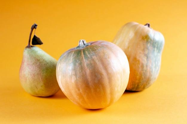 Gelbe früchte und gemüse auf orange hintergrund. birne und zwei kürbisse auf einem farbigen hintergrund. zusammensetzung kürbis, kürbis kürbis modell