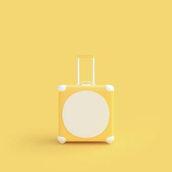 Gelbe gelbe pastellfarbe des reisekoffers