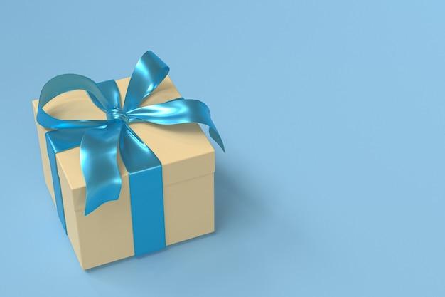 Gelbe geschenkbox 3d mit blauem band und schleife