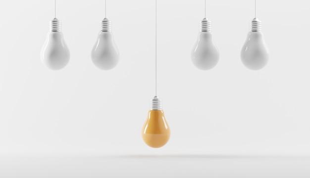 Gelbe glühbirnen mit kreativer idee auf verschiedenen weißen glühbirnen