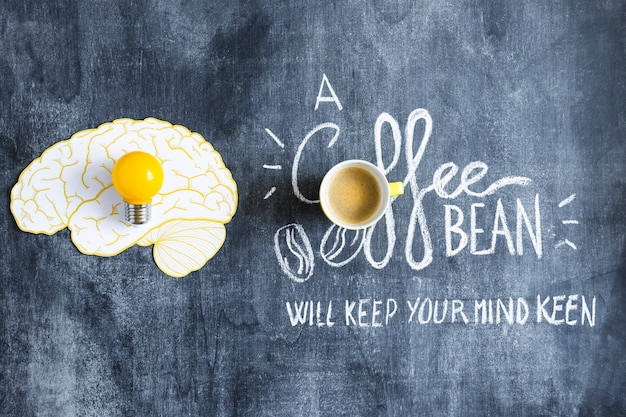 Gelbe glühlampe auf gehirnpapierausschnitt und kaffeetasse mit text auf tafel