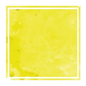 Gelbe hand gezeichnete rechteckige rahmen-hintergrundbeschaffenheit des aquarells mit flecken