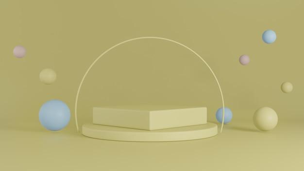 Gelbe hintergrundbühne mit kreis- und pastellblasendekoration im raum. 3d-rendering