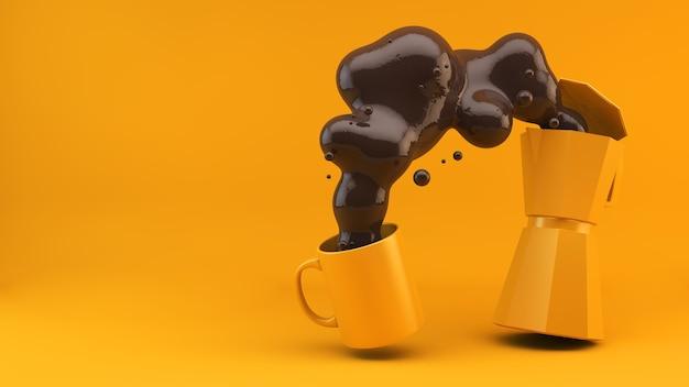 Gelbe kaffeemaschine, die zu einem becher 3d rendering dient