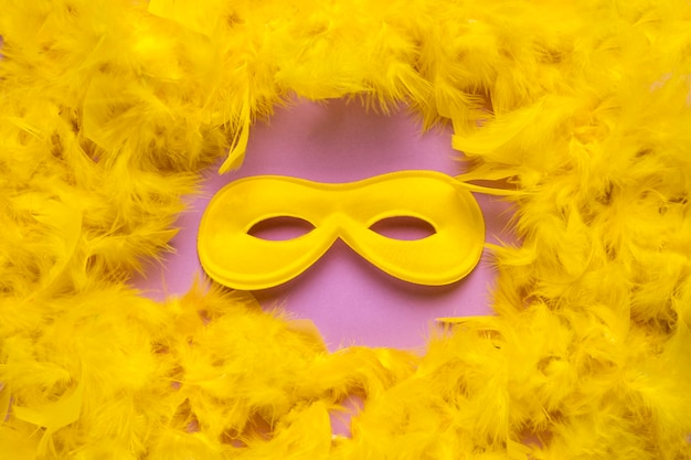 Gelbe karnevalsmaske mit gelber federboanahaufnahme