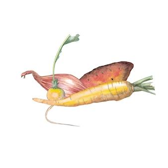 Gelbe karotte, rettich, yamswurzelkartoffel, schalotte. aquarell abbildung.