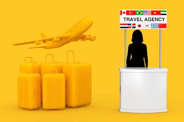 Gelbe koffer mit gelbem flugzeug in der nähe von reisebürostand mit frauensilhouette und flaggen