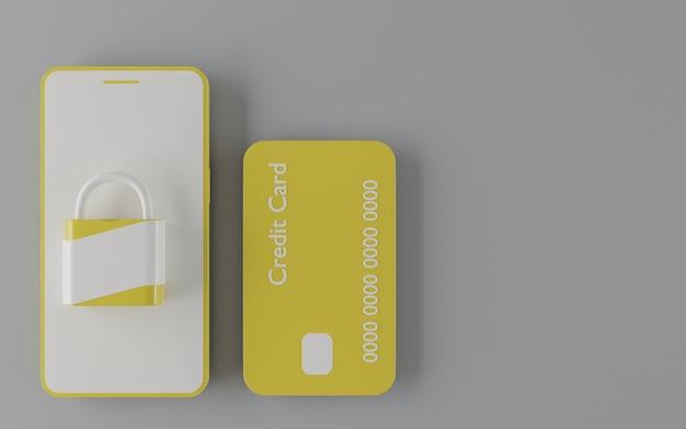Gelbe kreditkarte mit gelbem und weißem handy und vorhängeschloss. 3d-rendering