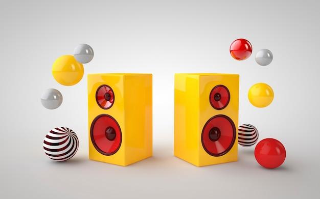 Gelbe lautsprecher der 3d illustration und bunter kreis