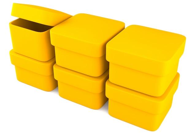 Gelbe leere kästchen isolieren auf weiß