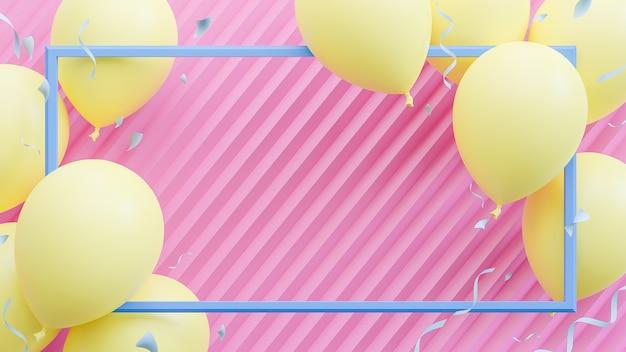 Gelbe luftballons, die auf rosa pastellhintergrund schwimmen. geburtstagsfeier und neujahrskonzept. , 3d-modell und illustration.