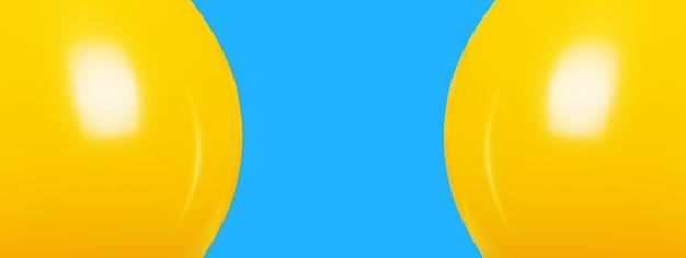 Gelbe luftballons über blauem hintergrund Premium Fotos