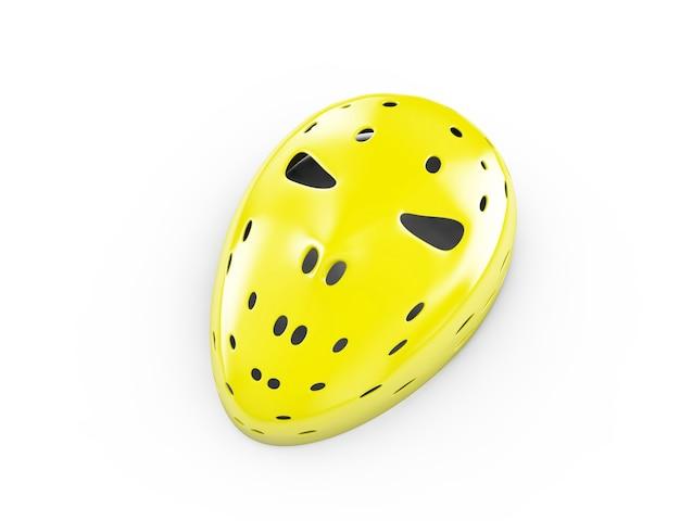 Gelbe maske auf weißem hintergrund, 3d-darstellung