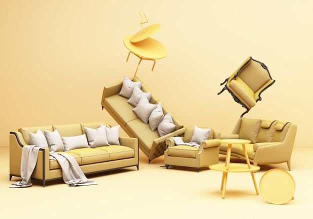 Gelbe möbel klassische sofa sessel tisch spaß komposition auf gelbem hintergrund 3d-rendering