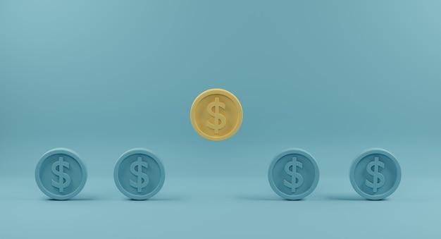 Gelbe münze, die von menge identischer blauer gefährten auf hellblauem hintergrund hervorsteht. 3d-rendering.