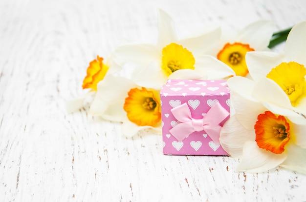 Gelbe narzissen mit geschenkbox