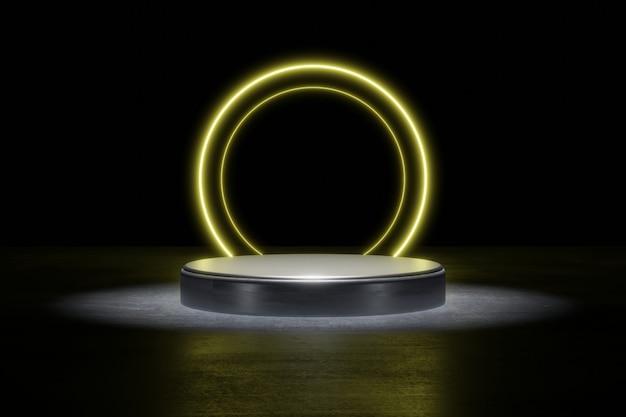 Gelbe neonlicht-produkthintergrundbühne oder podest auf grunge-straßenboden mit glühfleck