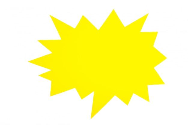 Gelbe papier-sprechblasen lokalisiert auf weißem hintergrund