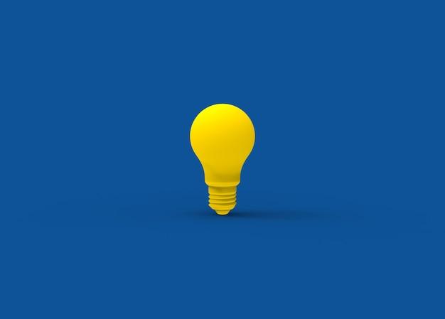 Gelbe pastalfarbene retro-glühbirne auf blauem hintergrund