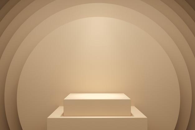 Gelbe pastellfarben-bühne mock-up-hintergrund für kopienraum. 3d-rendering. minimales ideenkonzeptdesign.