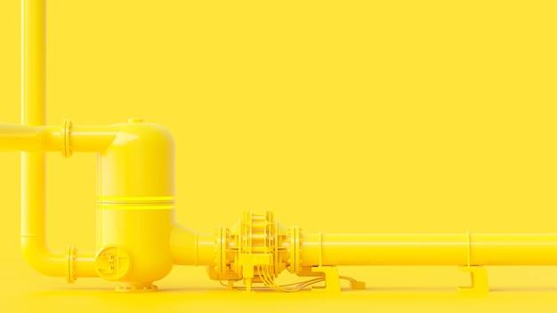 Gelbe pipeline, minimal- und energiekonzept. 3d-rendering.