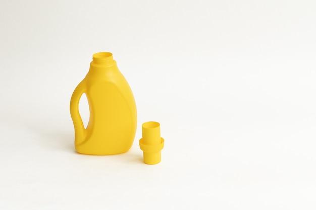 Gelbe plactic flasche für reinigungsmittel auf einem weißen backgraund. öffnen sie waschendes gel auf dem weißen lokalisierten hintergrund.