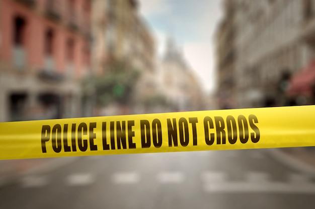 Gelbe polizeilinie band mit text polizeilinie kreuzen nicht