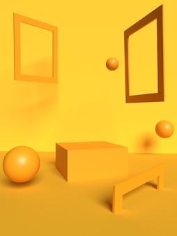 Gelbe rahmen- und ballszene mit geometrischen formen in 3d-rendering premium